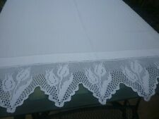 More details for large antique hand made tablecloth crochet tulips