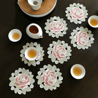 4-Pack Silicone Pink Rose Coaster Set Floral Potholder Coffee Teapot Plate Pad