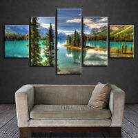 Nature Lake Poster Wall Art Reflection Snow Mountains Home Decor 5p Canvas Print