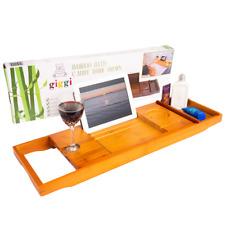 Giggi Extendable Bamboo Wood Bathtub Caddy Bridge Tray | Wine Glass,Phone Holder