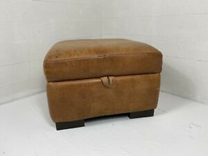 Aged Tanned Cigar Brown Leather Ottoman Storage Footstool #1