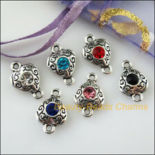 36Pcs Silver Tone Round Mixed Crystal Charms Pendants Connectors 11x18mm