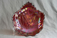 Authentic MURANO RED LEAF Bowl Carnival Glass Autumn Fall 11IN Signed Yalos Casa