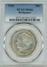 1936 Silver Commemorative Bridgeport 50C, MS 66 - PCGS