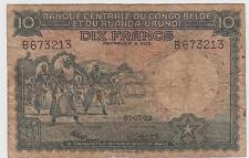 Belgian Congo 10 Francs 1.7.1952 P14E Prefix B Circulated Banknote