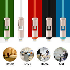 Black 2 in 1 Micro USB Lead Cord Sync Data Charger Cable for Apple Android US