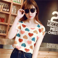 Korean Women's Lady Short Sleeve Heart Printed Chiffon T-shirt Top Blouse-L