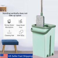 Flat Squeeze Mop Bucket Set Dry Wet Home Floor Self Cleaning 2 Microfibre