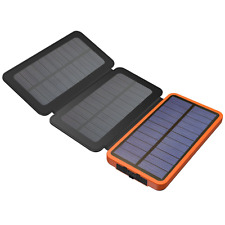 Solar Power Bank 10000mah Battery Charger With Dual USB Port LED Lightning