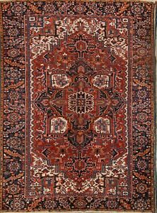 Antique Geometric 8x11 Heriz Hand Knotted Red Oriental Area Rug 8x11ft