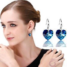 Chic Lady Women 925 Silver Plated Ear Stud Blue Crystal Rhinestone Hook Earrings