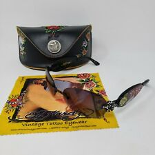 Ed Hardy Sunglasses Black EHS-014 Three Old School Roses Black Tint Pre-Owned