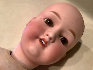 ANTIQUE COMPOSITION DOLL GLASS EYES TEETH FOR PARTS