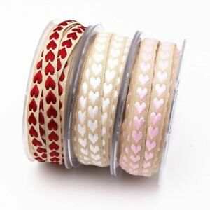 Heart Ribbon Woven Peach for Wedding Decoration Gift Wrapping Polyester 5/10m