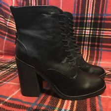 Shoemint Erin Lace-up Ankle Booties Black Size 7.5 Leather