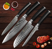 4Pcs Knife Set Kitchen Knives Damascus Steel 67 Layers Lasting Sharp Blade Wood