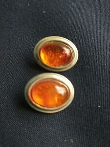 Clip Back Earrings. Sterling Silver and Amber