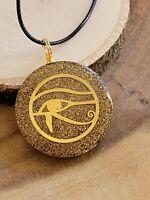 "Orgone 7 Chakra Healing Stones Round Pendant W/ 20"" Cord Necklace Eye Of Horus"