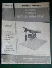 Sears Craftsman 9 Inch Radial Arm Owners Vtg Manual Book (Model no 113.29330)