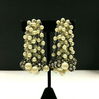 "Vintage ""Cha-Cha"" Clip Earrings Pearl Rhinestone Drippy Silver 1950's 60s SS72i"