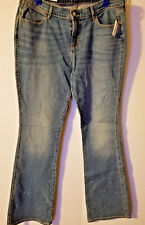 "Old Navy Women's NWT 14 Reg mid Rise Flare Blue Jeans 35X33"" distressed"