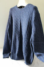 NWT Elliot Mulryan 100% Cashmere Blue Men's Cable Knit Classic Sweater XL $298