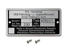 Typenschild Simson KR51/1 Schwalbe Rahmenplakette 2 Kerbnagel