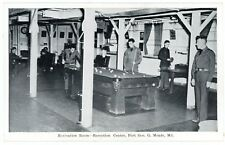 Postcard - Shooting Pool at Ft. Geo. Meade MD Recreation Room, WWII Era