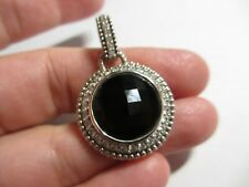 GORGEOUS Judith Ripka Sterling Silver Faceted Black Onyx CZ Pendant Enhancer QVC