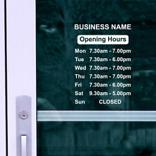OPENING HOURS + SHOP NAME Window, Wall Sign Vinyl Decal Sticker, opening times 1