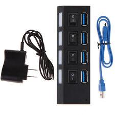 4 ports USB 3.0 HUB AVEC MARCHE/arrêt interrupteurs Adaptateur Secteur AC CÂBLE