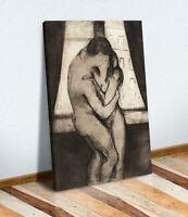 Edvard Munch The Kiss romantic love CANVAS WALL ART ARTWORK FRAMED PRINT bedroom
