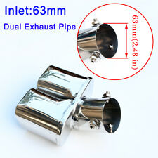 Universal 63mm 2.5Inch Inlet Dual Tail Muffler Exhaust Pipe Throat Rear Tip Trim