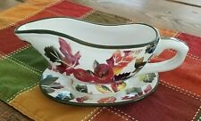 Wcl Fall Thanksgiving Gravy Boat With Saucer Plate Apple and Leaf Design