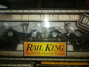 RAIL KING MTH O GAUGE CHESAPEAKE & OHIO  FLAT CAR W/2 ERTL DIE CAST PANEL VANS