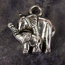 20 x CCB Plastique Fabrication de Bijoux maman & bébé éléphant pendentif Charms np35