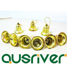 9x Gold Ring Bell Hanging Ornament Christmas Decoration Holiday Tree Hanger
