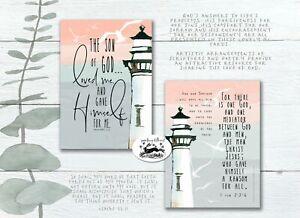pack of 4 lighthouse Galatians 2 V 20 Christian cards bible prints gospel kjv