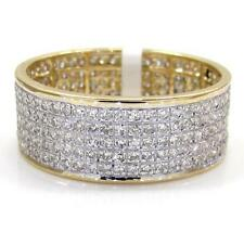 1.25t size 7 Mens Ladies 14k Yellow Real Gold 5 row Diamond Wedding Band Ring