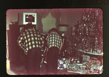1950s amateur 35mm photo slide Boys look at bicycle back to camera Christmas toy