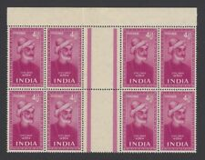 (ny) India 1952 Saints & Poets 4 1/2a MNH gutter block of 8