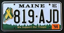 "MAINE "" SUPPORT OUR TROOPS "" 819  AJH "" ME Military Specialty License Plate"