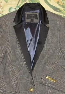 J CREW Black Plaid Wool Blend Regent Blazer Jacket With Satin Lapels 6