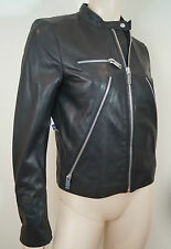 GAP Women's Black Leather Silver Zipper Collarless Lined Biker Jacket Sz:M BNWT