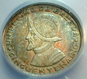 1953 Panama 1/10 Balboa Silver ICG AU58 Condition Toning KM#18  (493)