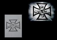 Airbrush Schablone Step by Step  / Skull / 0612 Eisernes Kreuz mit Schädel 1