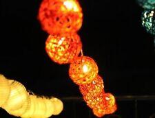 Orange Rattan Cane Balls Fairy Light String 3 Meters Long 220V UK Or 110V USA