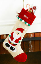 Santa Claus Personalized Christmas Stocking made of Tan Corduroy and Red Velvet