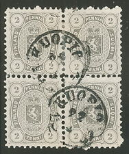 FINLAND #17 (12S) 2pen gray, Block of 4, used w/Kuopio cds, scarce and VF