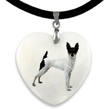 Miniature Fox Terrier Natural Mother Of Pearl Heart Pendant Necklace Chain Pp119